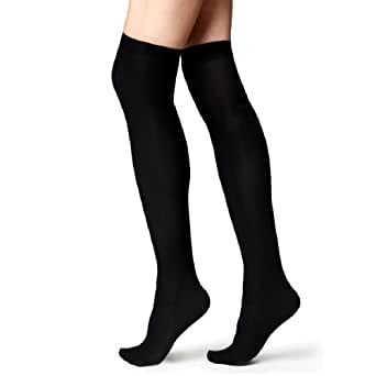 Ladies Girls Over The Knee Socks Back To School In Black And White Size 4-7 Uk Euro 37-42 (Black)