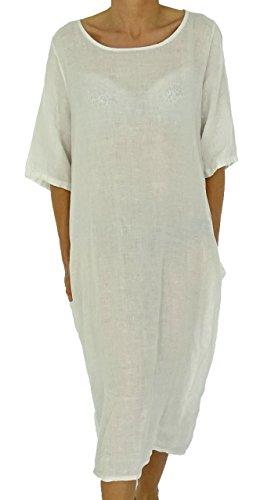 Mein Design Lagenlook de Mallorca Damen Kleid HW500 Tunika Leinen Oversize  Kurzarm Ballonkleid Vintage Lagenlook Gr