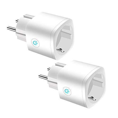 JULES V Enchufe Inteligente WiFi, Mini Inalámbrico Monitor de Energía con Función de Temporización y Alexa Google Home, Sin Necesidad de Concentrador con Control Remoto, 16A (2 Pcs)