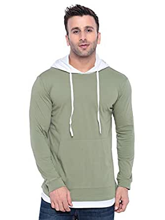 GRITSTONES Men's Hooded Cotton T-Shirt (Moss Green/White, Small)