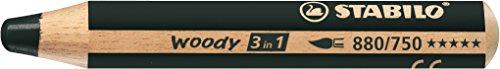 Stabilo woody 3 in 1 matitone colorato colore nero neutro - confezione da 5