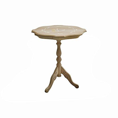 Pieffe Mobili am1010087 Table Rond ciselé, Bois, Brut Non Verni, 50 x 50 x 60 cm