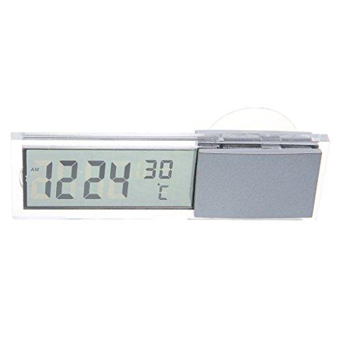LCD Digital Auto LKW Uhr + Thermometer mit Saugnapf ()