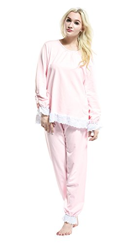 White Adult Footed Pyjamas (Pink Damen Schlafanzug Gr. M, 16-61035Pink)