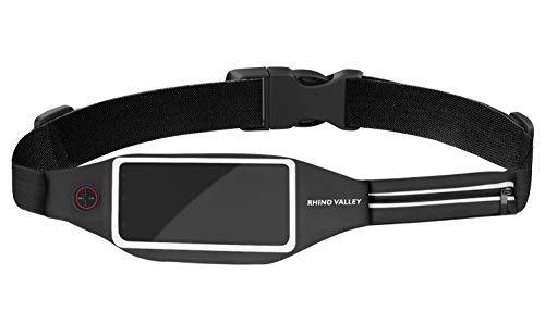 """Rhino Valley Sport Jogging Gürtel Hüfttasche mit 2 Taschen für Geld Schlüssel Ausweise, Lauftasche für iPhone 7/6S Plus, Galaxy S10/S10 Plus/S10e/S8, Smartphone bis zu 6"""", Schwarz"""