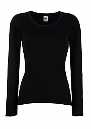 F242N Lady-Fit Valueweight Long Sleeve T, Farbe:Black;Größen:XS