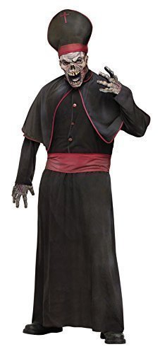 Hohe Priester Kostüm - Herren 6- teiliges Zombie hoch Priester religiös + Maske Halloween Kostüm Kleidung medium