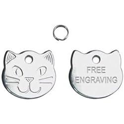 Buy It Sell It Médaille d'identité personnalisable pour chat Gravure comprise Motif tête de chat 22mm