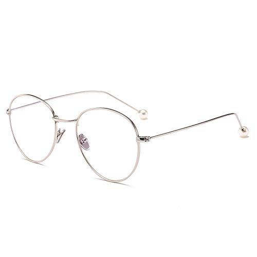 SNXIHES Sonnenbrillen Retro Eound Eyes Brillengestell Männer Frauen Big Fashion Computer Unisex Vintage Nerd Brillen Metallrahmen Optisch Braun 2