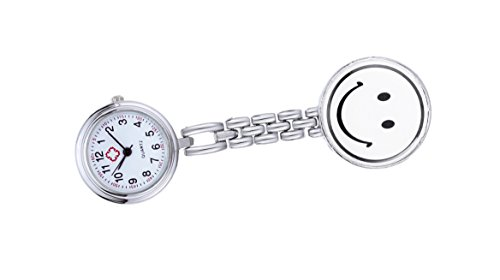 Quarz fob Uhr für Damen mit Smiley-Gesicht Anhänger uhr weiß