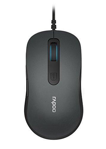 Rapoo N3610 kabelgebundene Maus (optischer 1000 DPI Sensor, DPI Schalter, rutschfestes Mausrad, 5 Tasten ink. 2D Mausrad, Plug and Play) grau