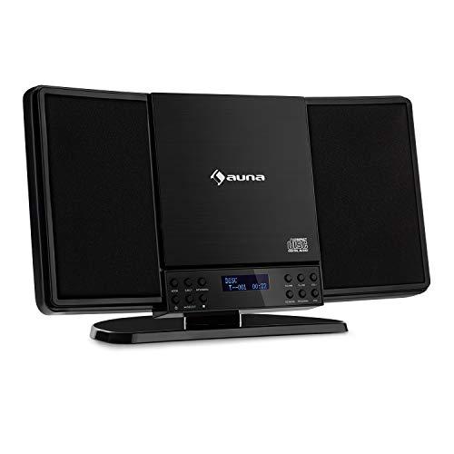 auna V14-DAB Vertical-Stereoanlage - MP3-fähiger CD-Player, FM und DAB+ Radiotuner, Bluetooth, SlimDesign Concept, AUX-Eingang, Kopfhöreranschluss, kompatibel für Wandmontage, schwarz
