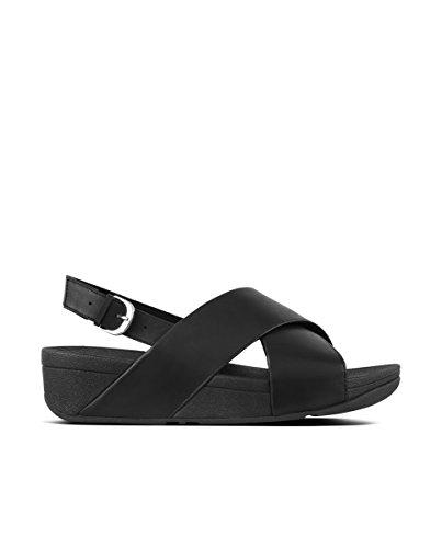Fitflop Lulu Cross Back-Strap, Sandali con Cinturino alla Caviglia Donna, Nero (Black 001), 38 EU