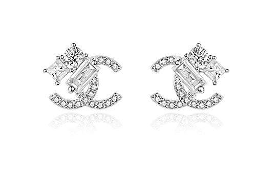 findout rosé vergoldet/Sterling Silber Cubic Zircons Goldfisch Ohrringe. Geschenk für Frauen Mädchen (F617) (Crystal Silver)