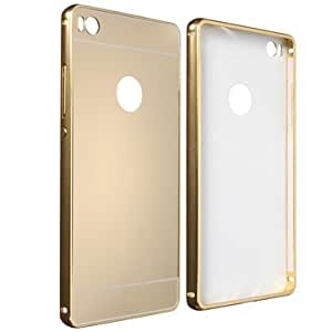 Metal Frame Mirror Hard Back Cover Case For Huawei Ascend P8 - Gold