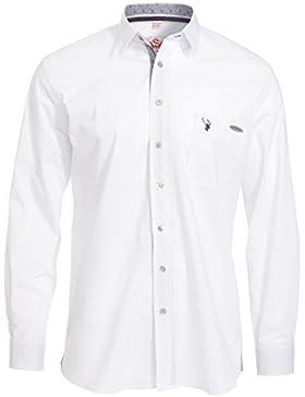 Spieth & Wenksy Herren Slim Fit Trachten Hemd Askot weiß-rot