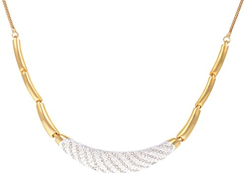 Sempre of London Beautiful Imperial Designer Necklace with Designer Earrings with Austrian Crystal Diamonds in Gold Two Tone Plated for Women