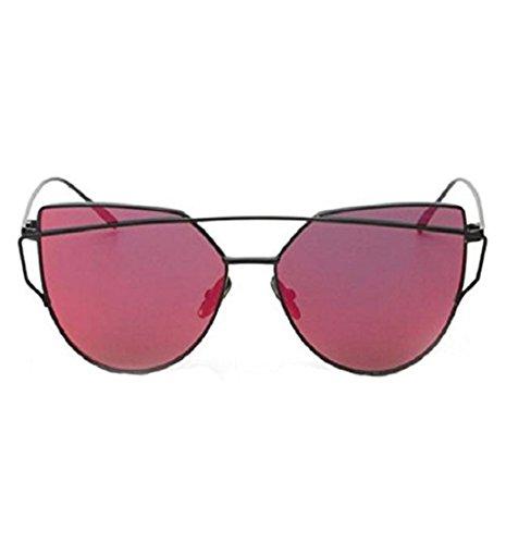 Yistu Twin-Träger klassische Frauen Metallrahmen Spiegel Sonnenbrille Cat Eye Brillenmode (Brille Eye Rot Cat Vintage)