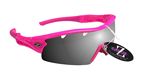 Rayzor Liteweight UV400 Rose Sports Wrap Golf Lunettes de soleil, 1 pièce ventilée Smoked Miroir AntiGlare objectif