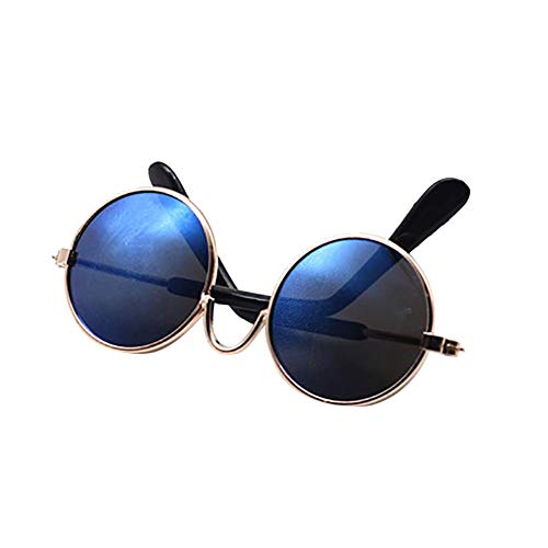1Pcs Bunte Metall Sonnenbrillen Für Amerikanische Puppe Mini-Gläser Zubehör Runden Brille Props (Blau)