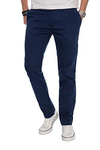 A. Salvarini Herren Designer Chino Stoff Hose Chinohose Regular Fit AS016 AS-016-Dunkelblau-W33-L30