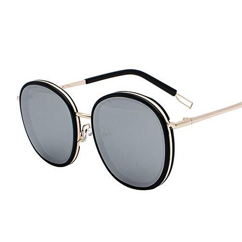 SenDi Sonnenbrille -Weibliche Sonnenbrillepersönlichkeitsnetz der großen Augen weibliche Sonnenbrille, die Harajuku-Art Korea-Oval, schwarzes Rahmenweiß schießt