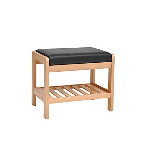 Sitzhocker Ändern Schuhbank, Massivholz Buche, Lagerung und ändern Schuhe, Moderne minimalistische, wasserdicht, Holz, 33,5x40x50cm (Color : Natural)