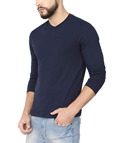 759635201ee Buy Urba Classics Men s Cotton V Neck Plain Navy Blue Full Sleeves T Shirt(UC1093)  on Amazon