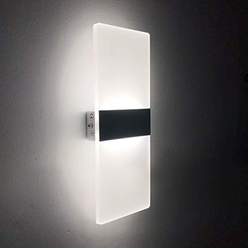 Lámpara de Pared LED 12W, Interior Apliques de Pared Moderna Acrílico, Iluminación...