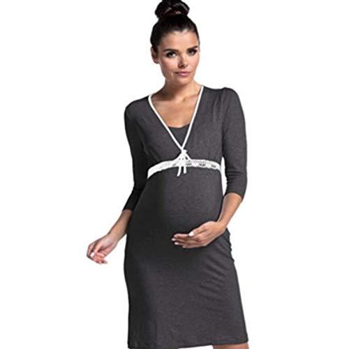 LIGHTBLUE Damen Still-Nachthemden Stillendes Mutterschaftskleid 3/4 Ärmel Spitzennaht-Schlafanzug, Graphitgrau, XL (Krankenpflege Nachtwäsche Mutterschaft)