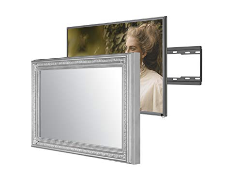 Handmade Framed Mirror TV with Samsung to Blend This Hidden Mirrored Television into Your Home or Business Decor (55 Inch, Patterna Silver)