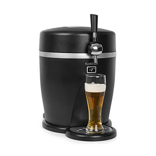 klarstein tap2go mobile - impianto per spillare birra portatile con portabevande termico 2 in 1, botti da 5 l, frigorifero da 13 l, uso in casa o auto, fino a 3°c, raffreddamento termoelettrico, nero