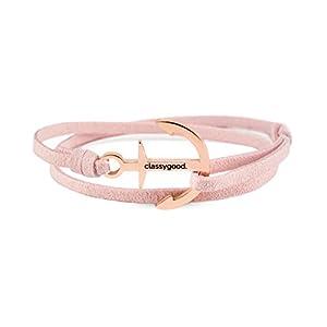 classygood. Anker Armband Classy Bracelet roségold & Silber, Alcantara-Leder Band zartrosa für Damen/Herren