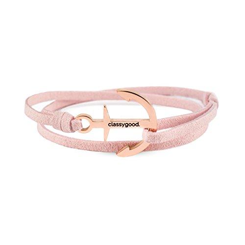 classygood. Anker Armband Classy Bracelet roségold & Silber, Leder-Band rosa für Damen/Herren (roségold) Rosa Armband