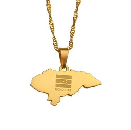 VAWAA Kleine Größe Honduras Karte Anhänger Halsketten Für Frauen Gold Farbe Charme Karten Schmuck Patriotische (Honduras Silber Schmuck)