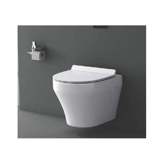 Ceramic Wall Hung/Wall Mounted Designer Water Closet Toilet with Slim Seat Cover (Standard, White)