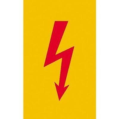 Spannungszeichen (Roter Blitz) Warnschild, selbstkl. Folie , Größe 7,40x14,80cm