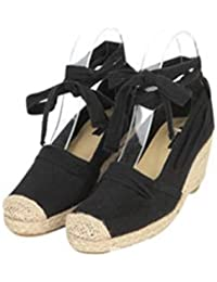 Boca superficial solo zapatos _ Hill, con paja blanca zapata pescador chica con negrita, con una luz de enlazado con Wild, Negro,35