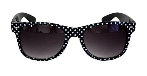 Foster Grant SPVL15725 FG111 Damen Abgerundetes Rechteck, Full-Frame-Sonnenbrille Schwarz und Weiß Polks Dots Kunststoff-Rahmen & Arme UV400 Schwarz Verlaufsgläser 100% UV-Schutz CAT 2