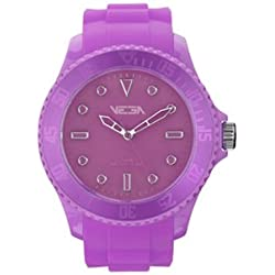 Vega Unisex Quartz Watch with Purple Dial Analogue Display and Purple Silicone Strap VEGWATPUR