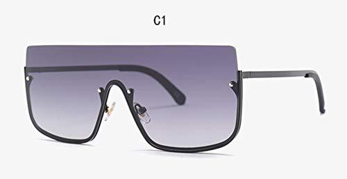 Cranky Orange Brand Fashion Damen New Übergroße Sonnenbrille Herren 2019 Square Half Frame Sonnenbrille Damen Eyewear Trend, C1