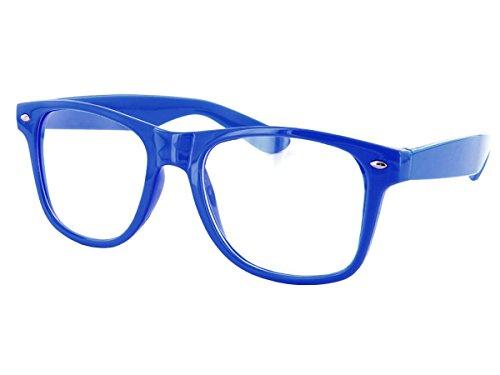 Alsino Nerd Brille in 52 Farben Sonnenbrille Hornbrille (816e blau)