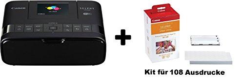 Canon SELPHY CP1200 Fotodrucker inkl. Druckpatrone/ Papiersatz für 108 Ausdrucke (Thermosublimation, USB, WLAN, SD-Slot) (Schwarz)
