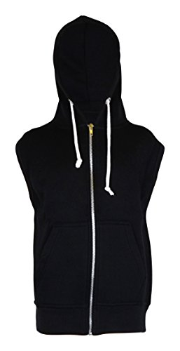 Männer Sleeveless Sweatshirt Hoodies Top (Medium, Schwarz)