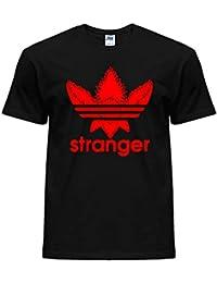 Camiseta para niños 100 % algodón con logo de trébol y palabra «Stranger», películas de TV y Netflix «Welcome to The Upside Down», mercadotecnia de Stranger Things