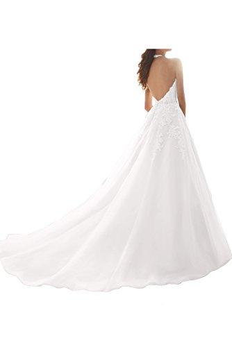 TOSKANA BRAUT Damen Elegant Schleppe Neckholder aermellos Organza Spitze Applikation Perlen Rueckenfrei Knopf gedeckt Hochzeitkleid Abendkleid Promkleid Lilac