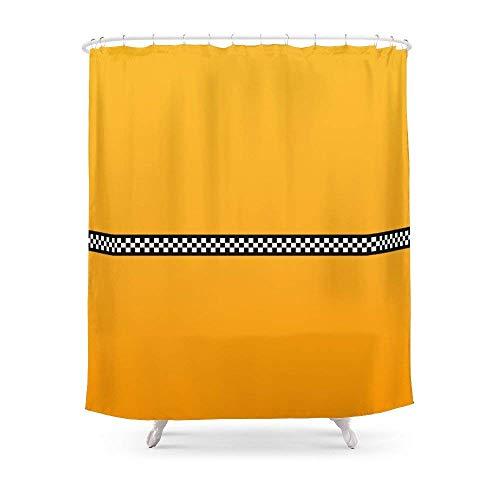 Suminla-Home Badezimmer NY Taxi Cab gelb mit schwarz und weiß kariert Streifen Vorhang für die Dusche 182,9cm von 182,9cm - Grau Mit Duschvorhang Rüschen