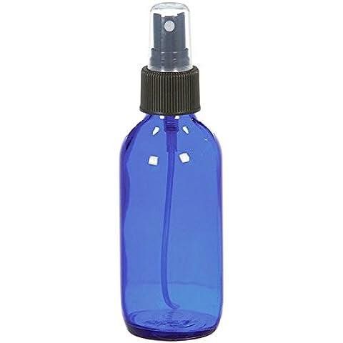 4oz bottiglia vuota di blu cobalto rotondo in vetro con nero Nebulizzatore fine per oli i prodotti di pulizia per aromaterapia creme Shampoo, saponi etc.(1).