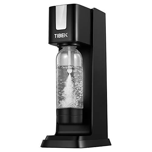 TIBEK Soda Stream Machine avec 1L Bouteille en PET sans BPA, Machine à Gazeifier l'Eau avec Bouton d'échappement pour la sécurité, Suitable Accueil/Bureau/Fête