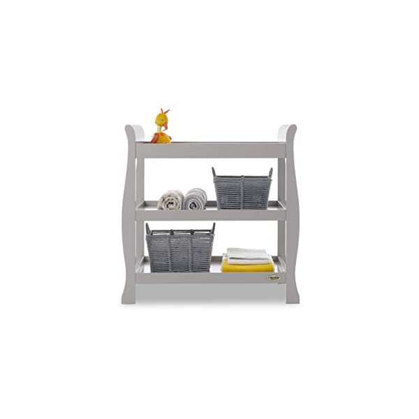 Obaby Stamford Open Changing Unit - Warm Grey Obaby Two large open shelf spaces for plenty of storage Top of the unit is the perfect size for accommodating a changing mat Carefully considered table top perfect for the use of a changing mat 1